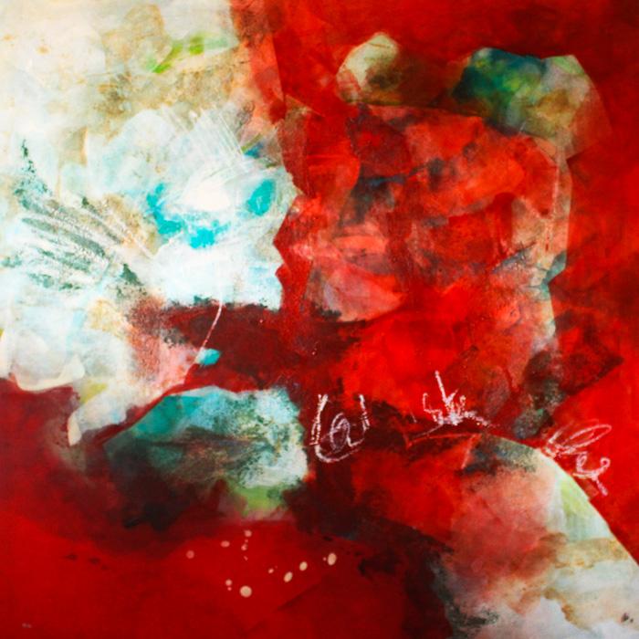 Rotes abstraktes Gemälde von Ute Zirlewagen