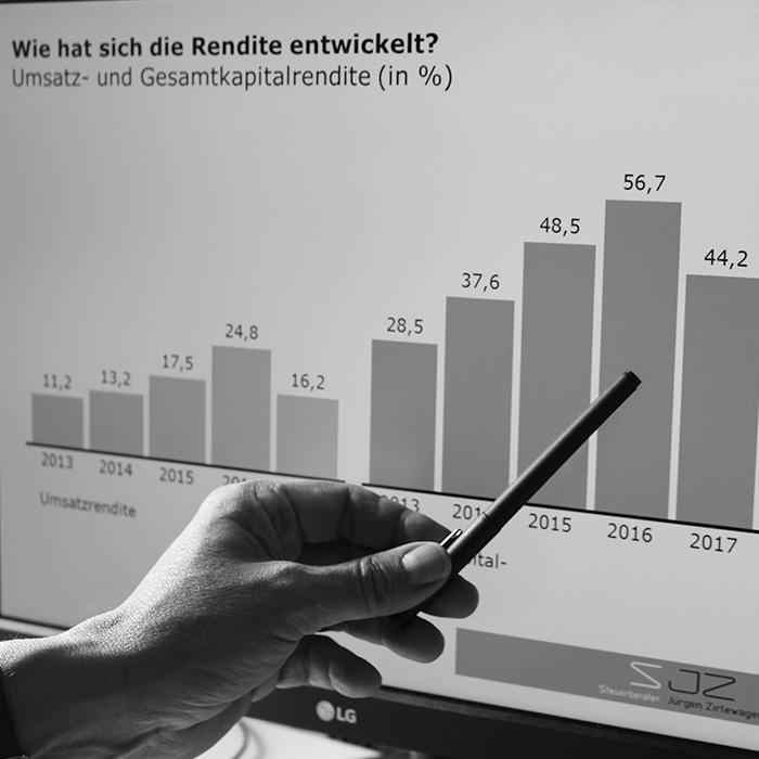Hand zeigt mit Stift auf ein Diagramm an einem Bildschirm.